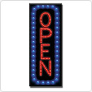 "16"" x 6.75"" Vertical LED OPEN with Blue Border"